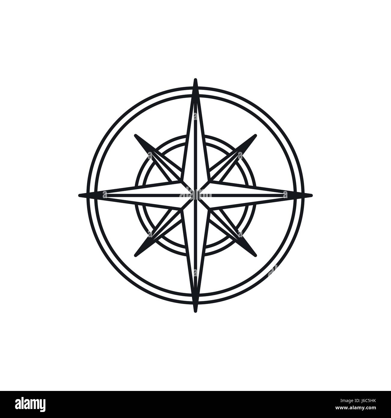 Compass wind rose icon, outline style Stock Vector Art ...