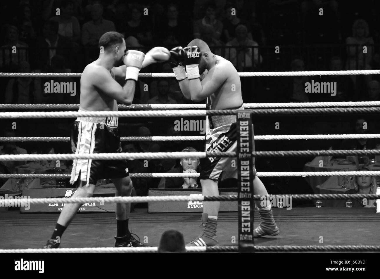 Hüseyin Cinkara (Left, Schifferstadt, Germany) vs. Alexander Todorovic (Right, Nyköping, Sweden), Cruiserweight, - Stock-Bilder
