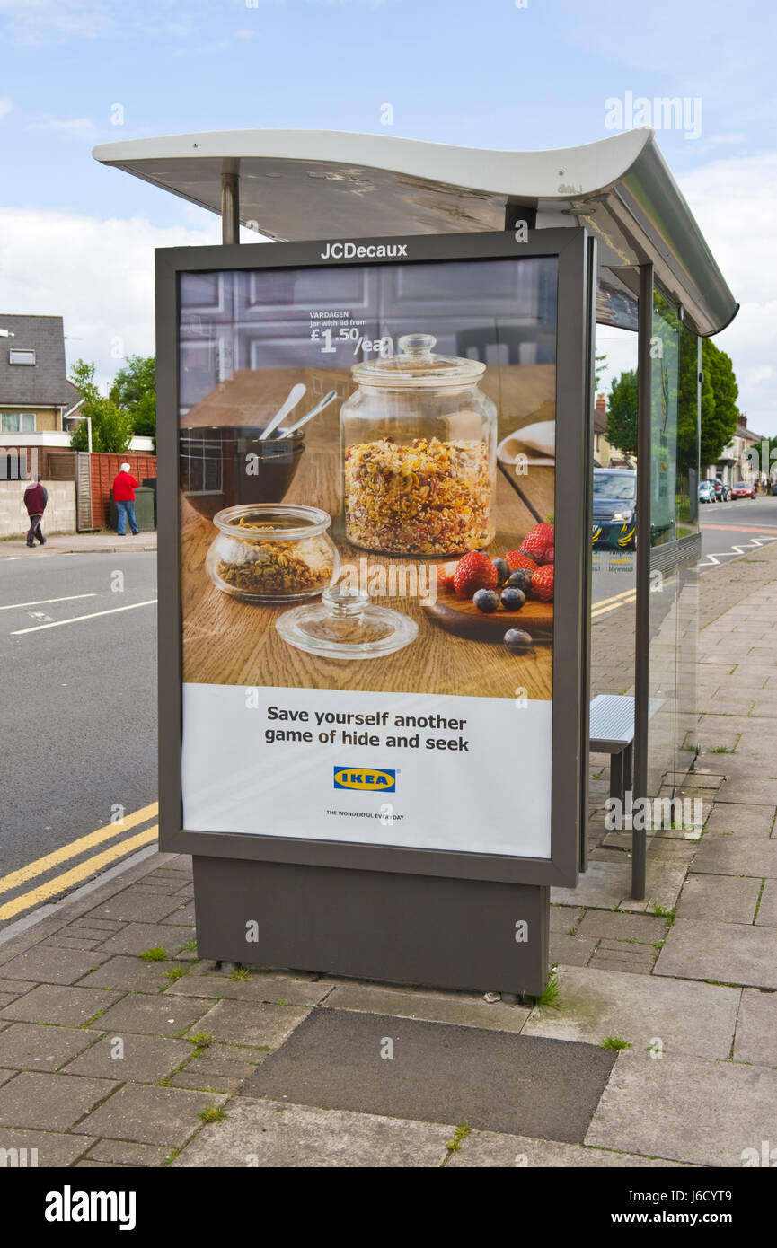 IKEA advertising billboard on JCDecaux bus shelter site in Newport, South Wales, UK - Stock Image