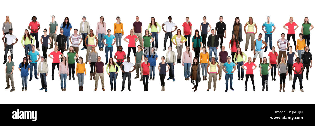 Group of young people background crowd in a row multicultural multi ethnic persons - Stock Image