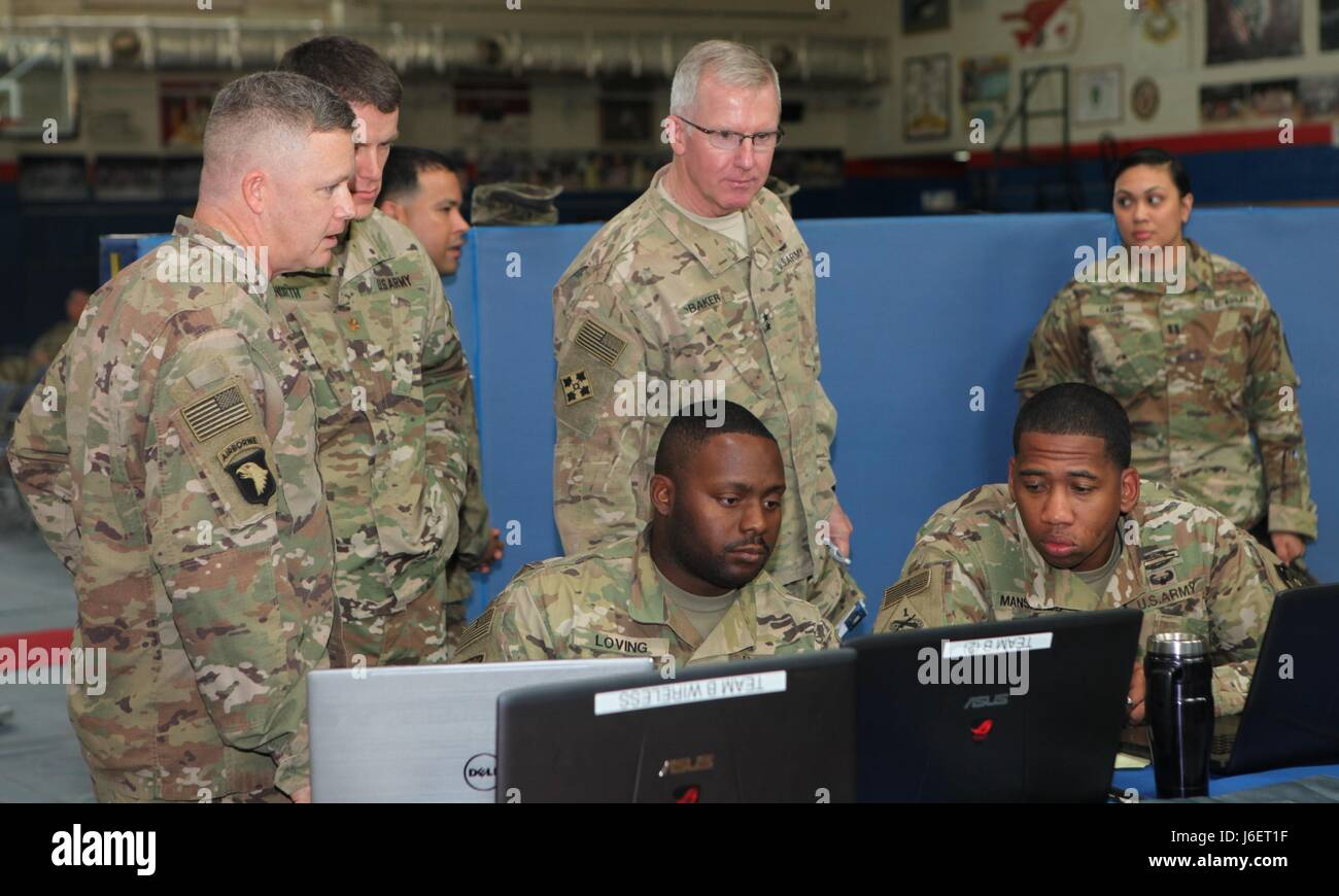 Maj. Gen. John Baker, Commanding General, NETCOM, visits the Cyber Range at the Cyber Bowl III during his battlefield - Stock Image