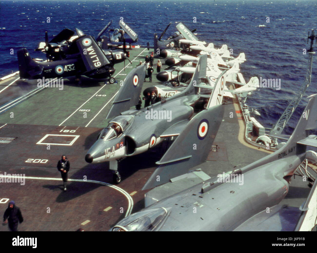 AJAXNETPHOTO. 1960S. AT SEA. - HMS VICTORIOUS. - FLIGHT DECK. CIRCA EARLY 1960S ship scrapped in 1969.  PHOTO:VIV - Stock Image