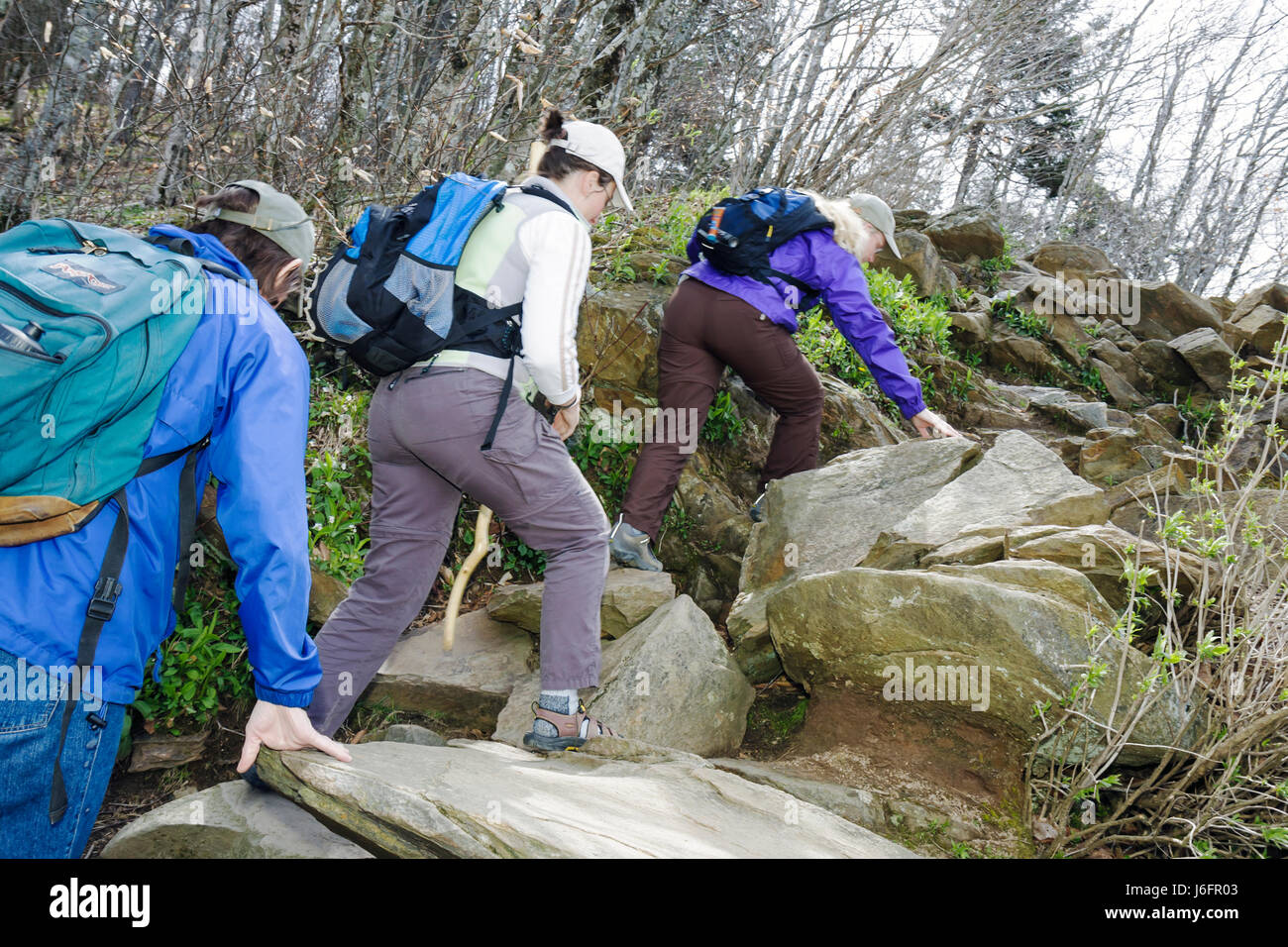 Tennessee Great Smoky Mountains National Park Newfound Gap woman women hikers rocks backpack trail - Stock Image