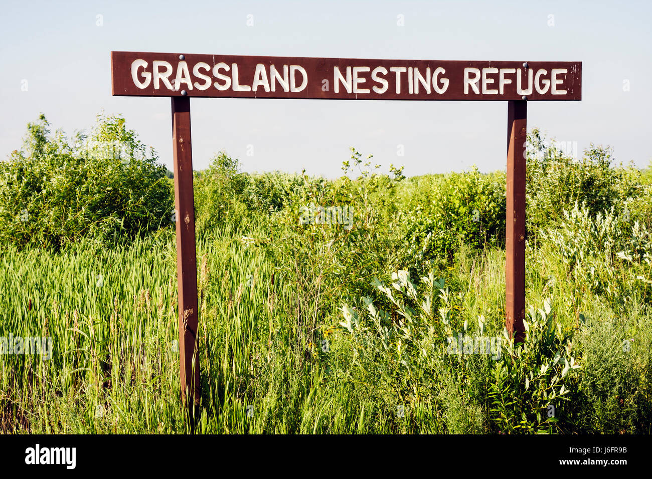 Wisconsin Kenosha Kansasville Richard Bong State Recreation Area grassland nesting refuge prairie wetland sign ecology - Stock Image