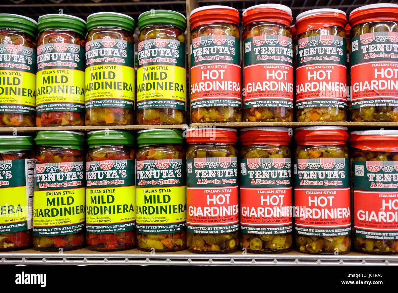 Wisconsin Kenosha Tenuta's Delicatessen Liquors and Wines Italian market bottles jars store brands pickled vegetables - Stock Image