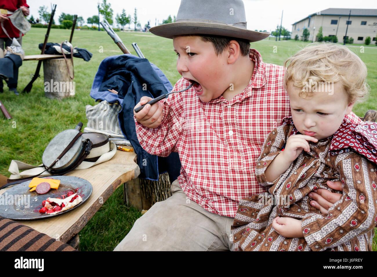 Wisconsin Kenosha Civil War Museum Civil War Days muster Park City Grays living history education reenactor boy - Stock Image