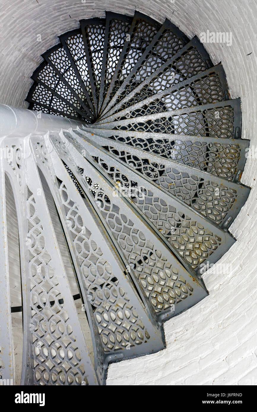 Wisconsin Kenosha Simmons Island Southport Light Station historic lighthouse built 1866 spiral staircase - Stock Image