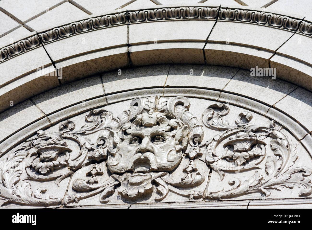 Wisconsin Kenosha Sixth 6th Avenue Kenosha Theatre architectural detail ornamentation - Stock Image