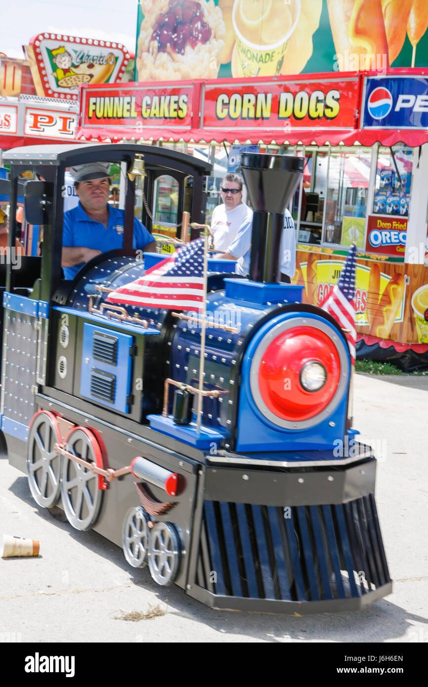 Wisconsin Kenosha Kenosha County Fairgrounds The Ultimate Kid Fest family event kid's train ride carnival - Stock Image