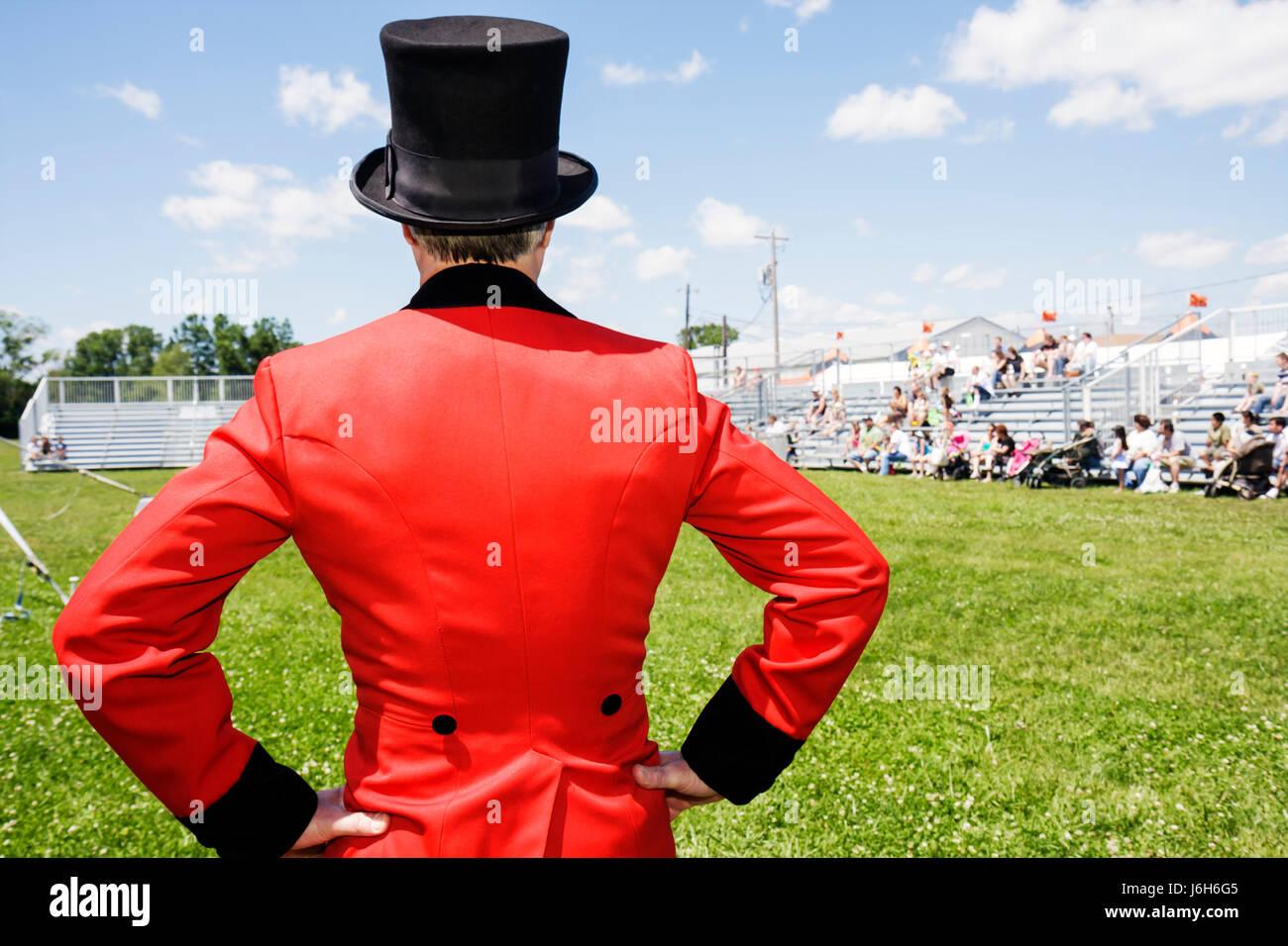 Wisconsin Kenosha Kenosha County Fairgrounds The Ultimate Kid Fest family event circus ringmaster red coat top hat - Stock Image