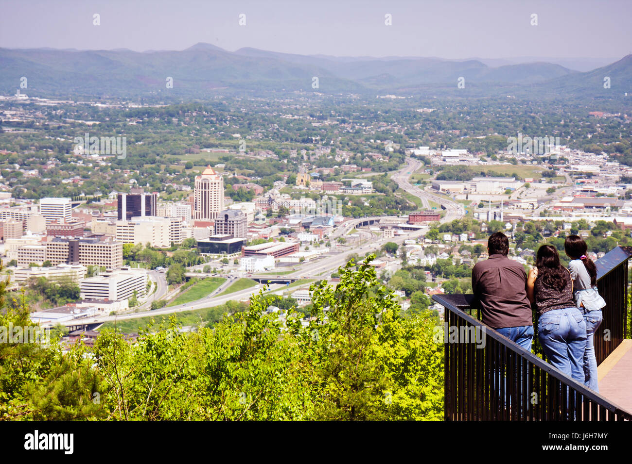 Virginia Roanoke Mill Mountain Overlook view downtown city valley Allegheny Mountains Blue Ridge Appalachian Hispanic - Stock Image