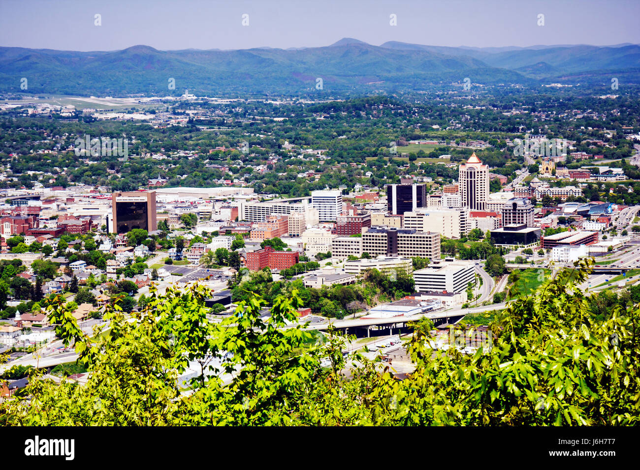Virginia Roanoke Mill Mountain Overlook view downtown city valley Allegheny Mountains Blue Ridge Appalachian - Stock Image