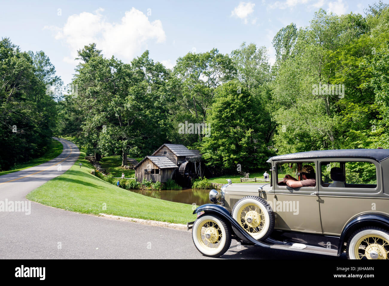 Virginia Appalachian Mountains Blue Ridge Parkway All-American Road National Scenic Byway Mabry Mill historic gristmill - Stock Image