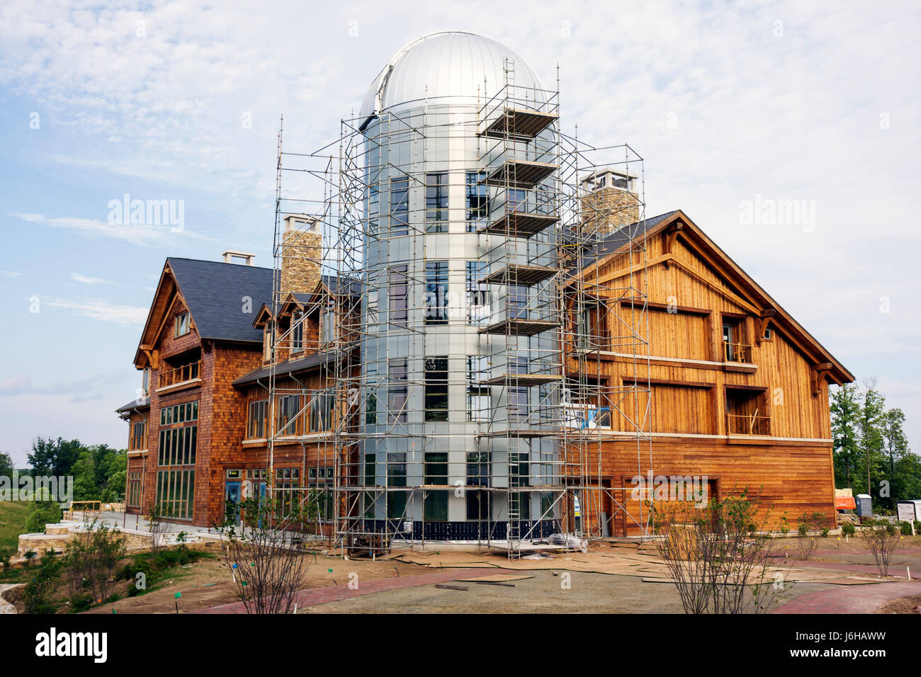 Virginia Meadows of Dan Primland luxury resort lodge golf clubhouse astronomical observatory under construction - Stock Image
