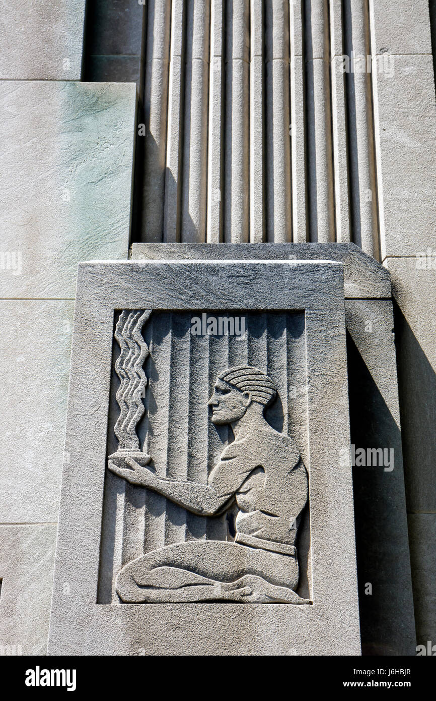 Virginia Lynchburg Church Street Art Deco style architecture detail art office building - Stock Image