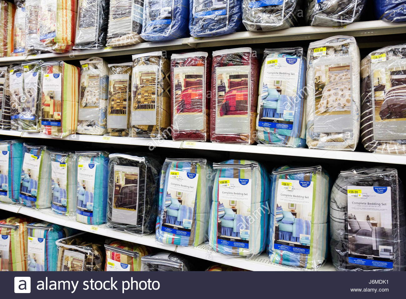 Miami Hialeah Florida Wal-Mart Walmart shopping for sale retail display bed cover - Stock Image