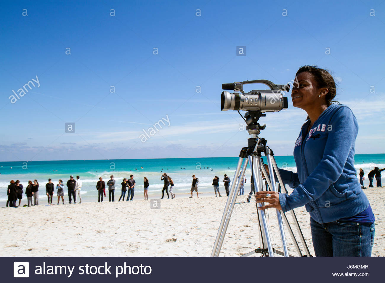 Miami Beach Florida Surfrider Foundation No Offshore Florida Oil Drilling Protest black clothing represents oil - Stock Image
