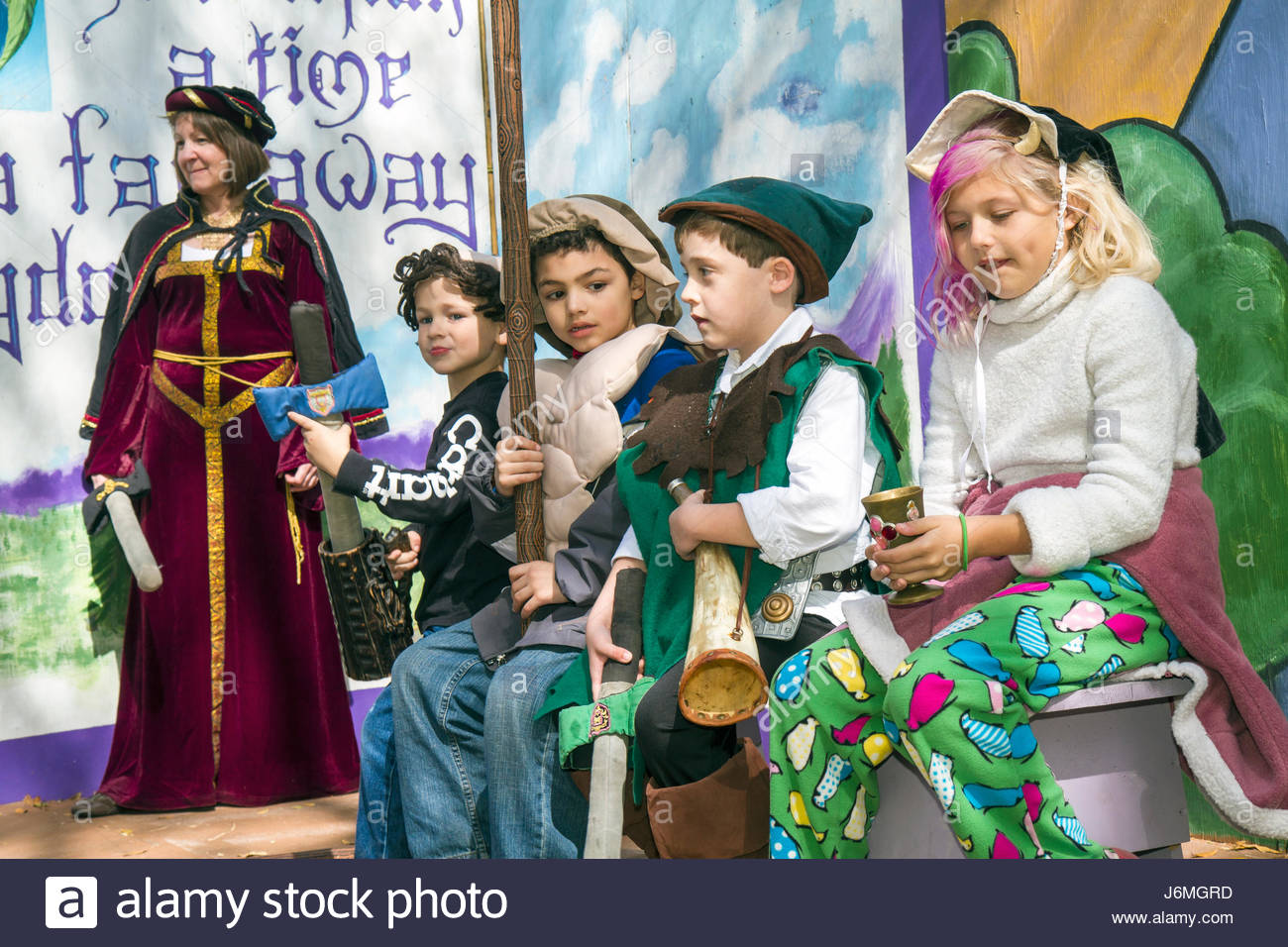 Deerfield Beach Florida Quiet Waters Park Florida Renaissance Festival stage girl boy children - Stock Image