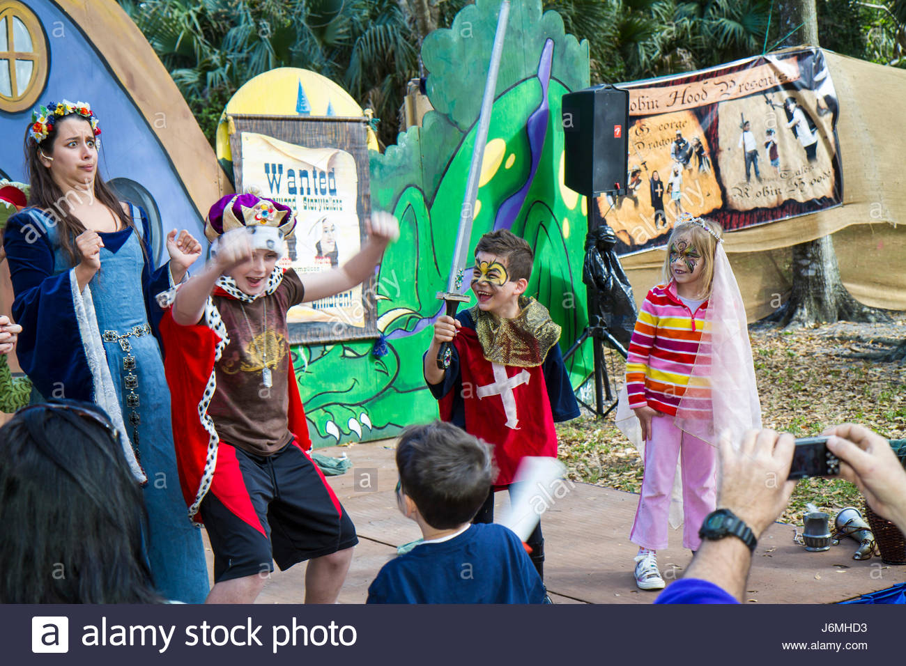Deerfield Beach Florida Quiet Waters Park Florida Renaissance Festival costume stage boy girl perform - Stock Image