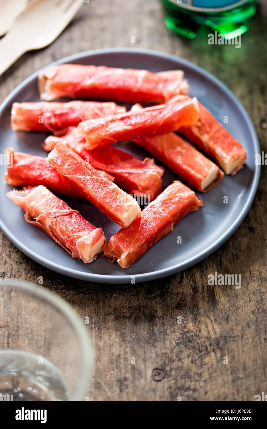 Serrano ham & manchego rollito - Stock Image