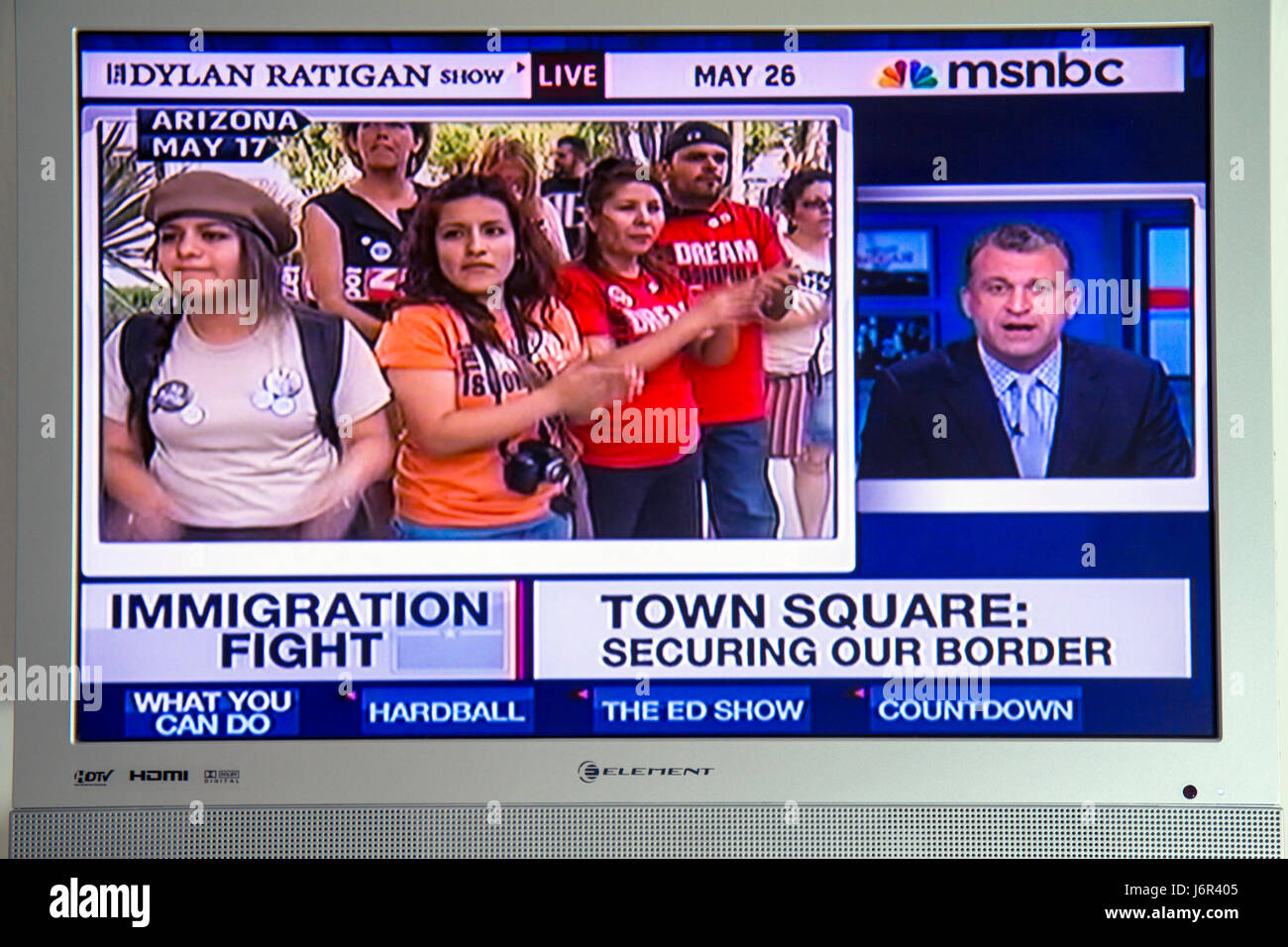 MSNBC Arizona Immigration Law illegal immigrants immigration Mexico border TV television screen flat panel - Stock Image