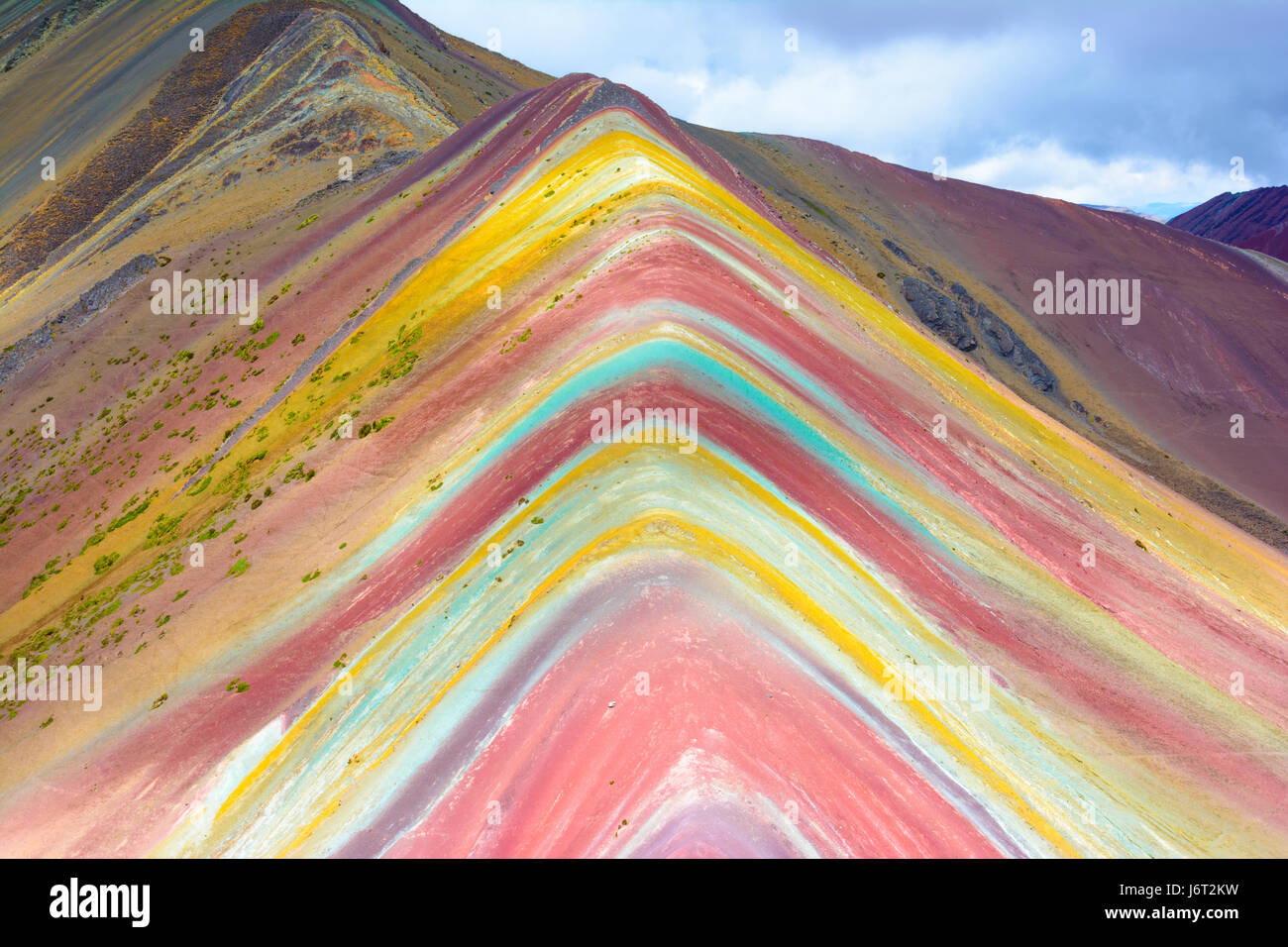 Vinicunca Montana de Siete Colores , or Rainbow Mountain, Pitumarca, Peru - Stock Image