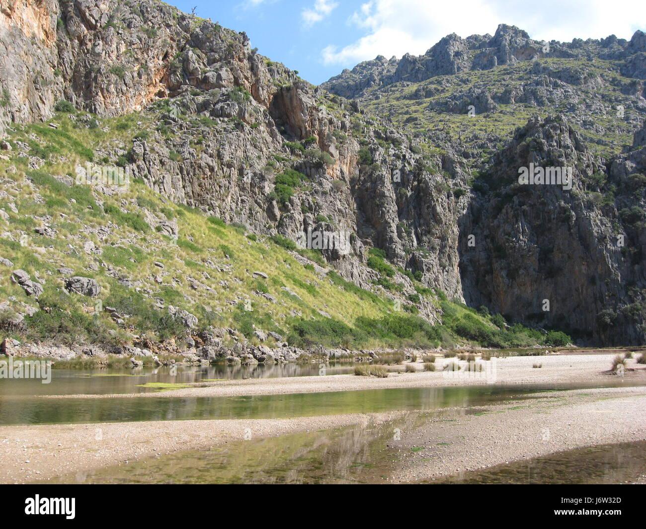 mallorca spain mountains mallorca spain water mediterranean salt water sea - Stock Image