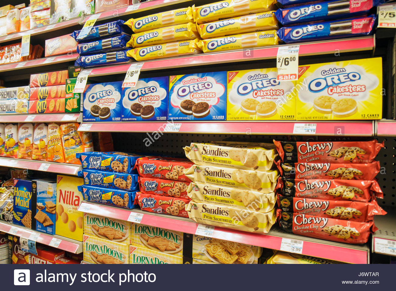 Miami Beach Florida CVS Pharmacy drug store retail display shelves competing products packaging for sale cookies - Stock Image