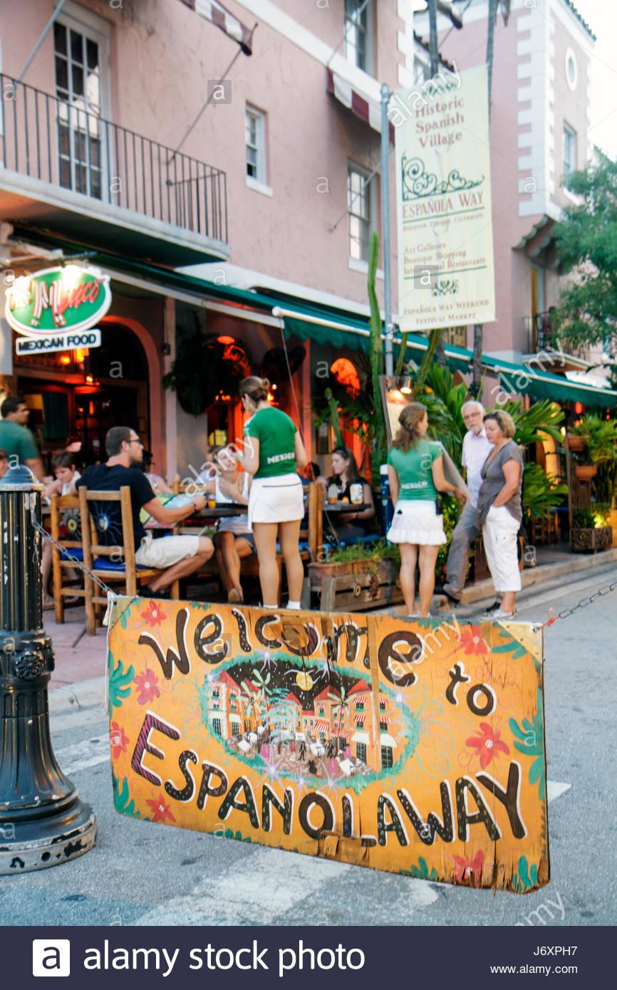 Miami Beach Florida Espanola Way welcome sign entrance - Stock Image