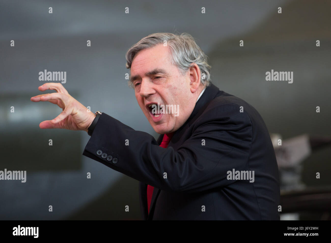 Former Labour Prime Minister Gordon Brown giving a speech in Coventry during the Labour Election campaign - Stock Image