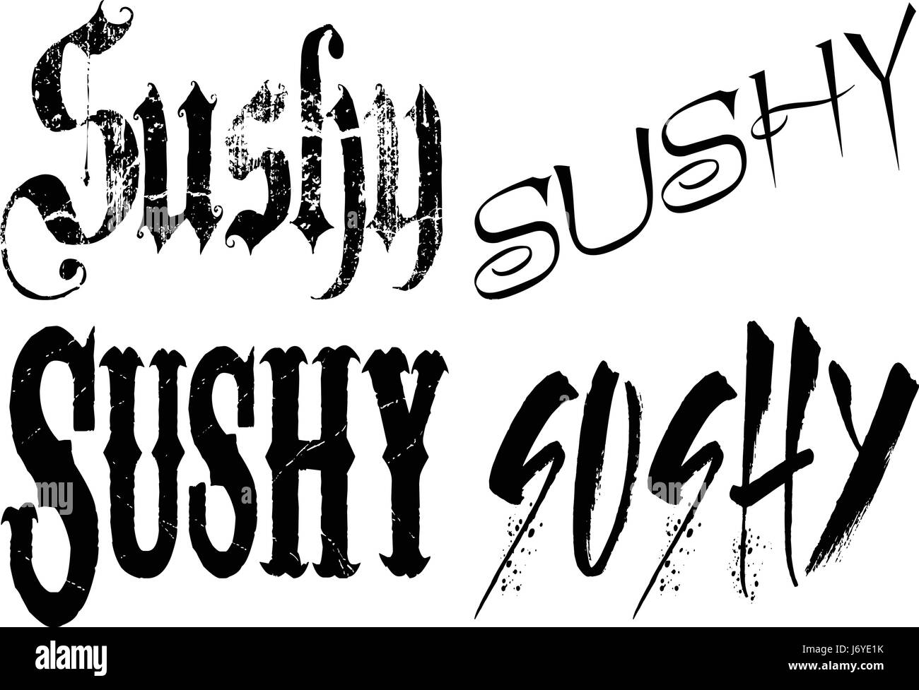 Sushy text banner in black lettesr on white background - Stock Image