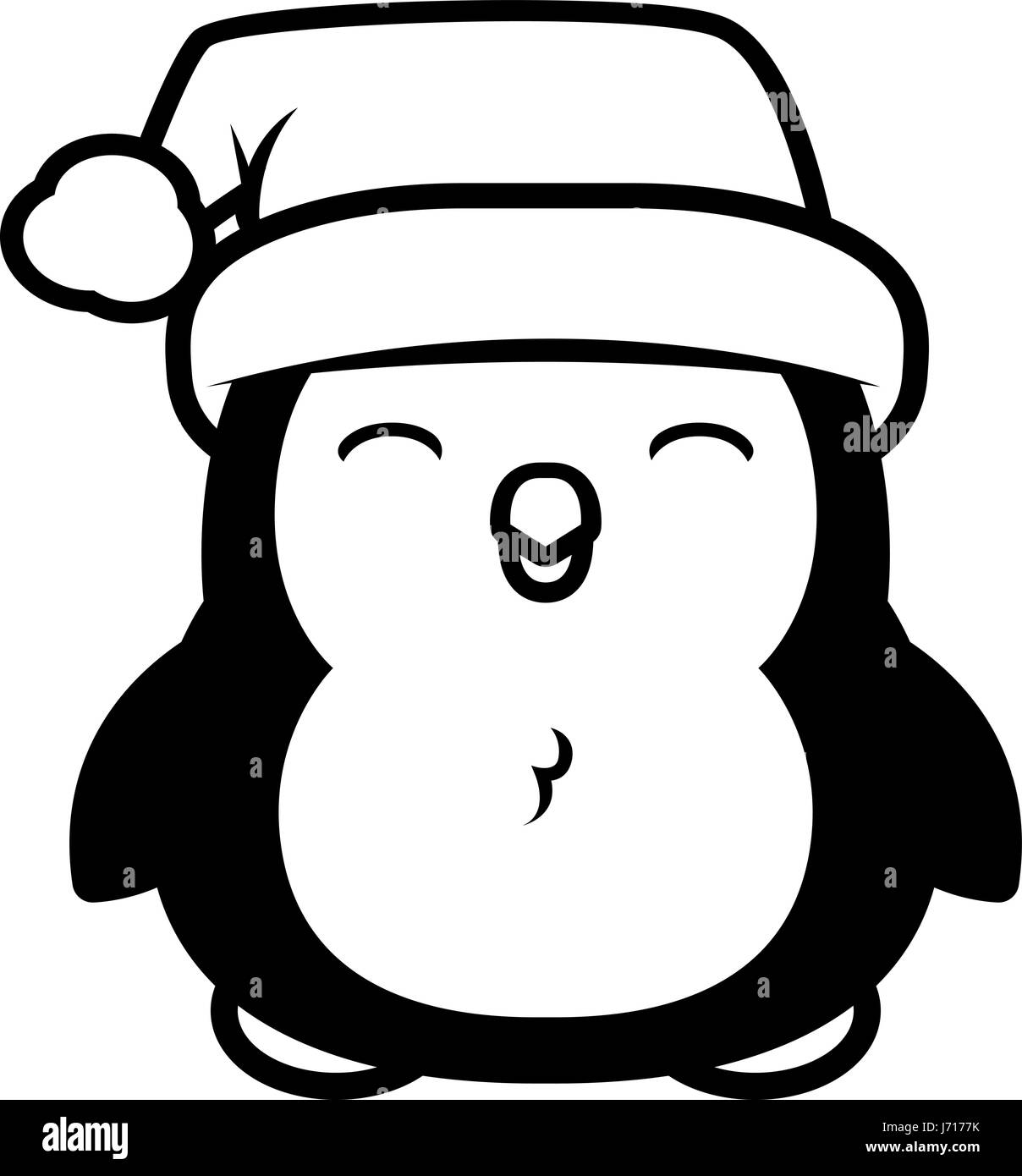 Penguin black and white clipart