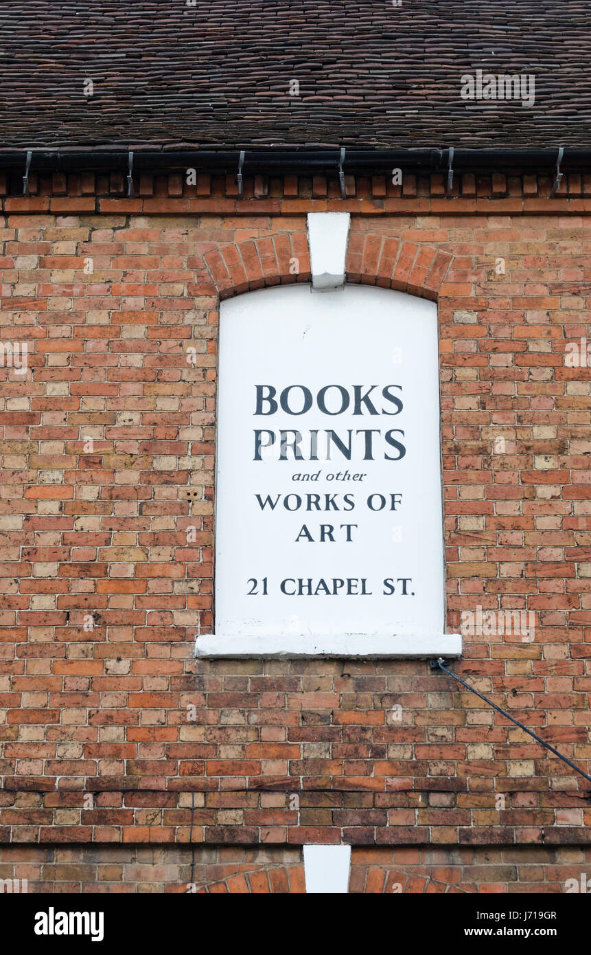 Sign for Chaucer Head Book Shop in Stratford-upon-Avon, Warwickshire - Stock Image