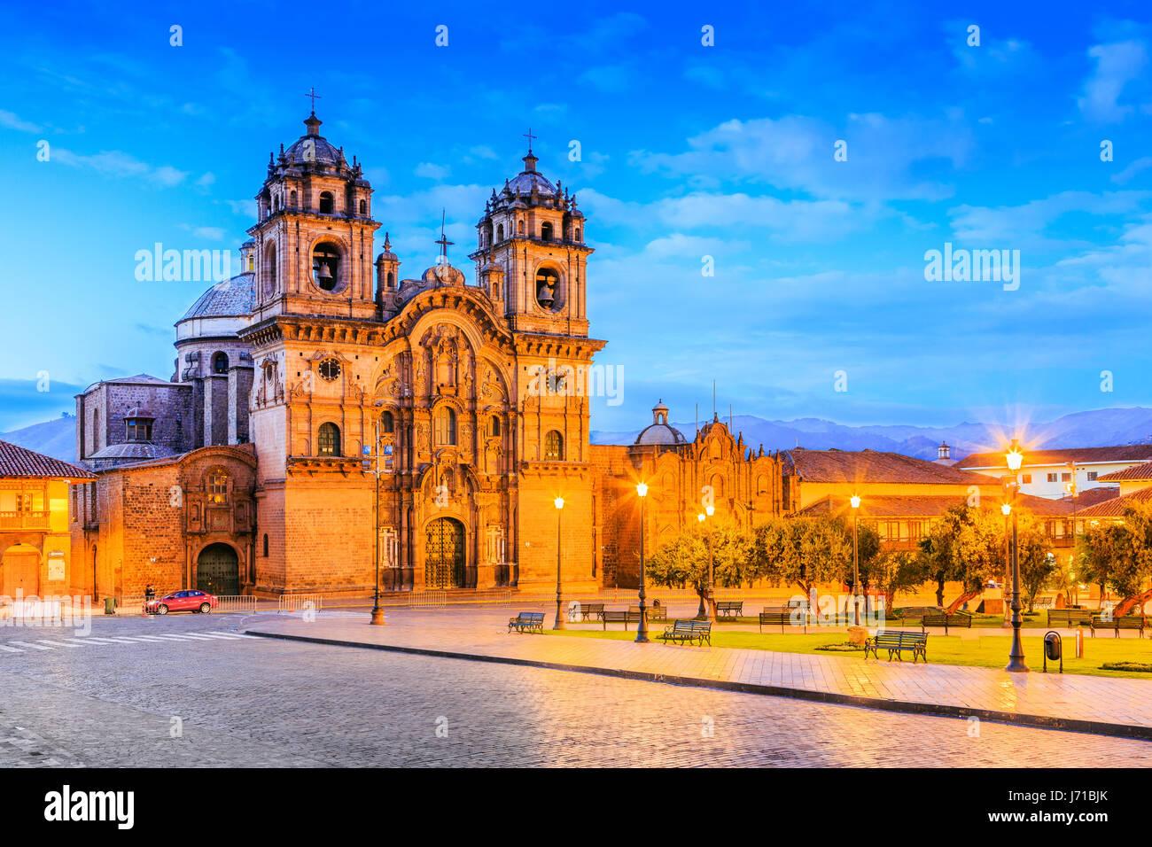 Cusco, Peru the historic capital of the Inca Empire. Plaza de Armas at twilight. - Stock Image