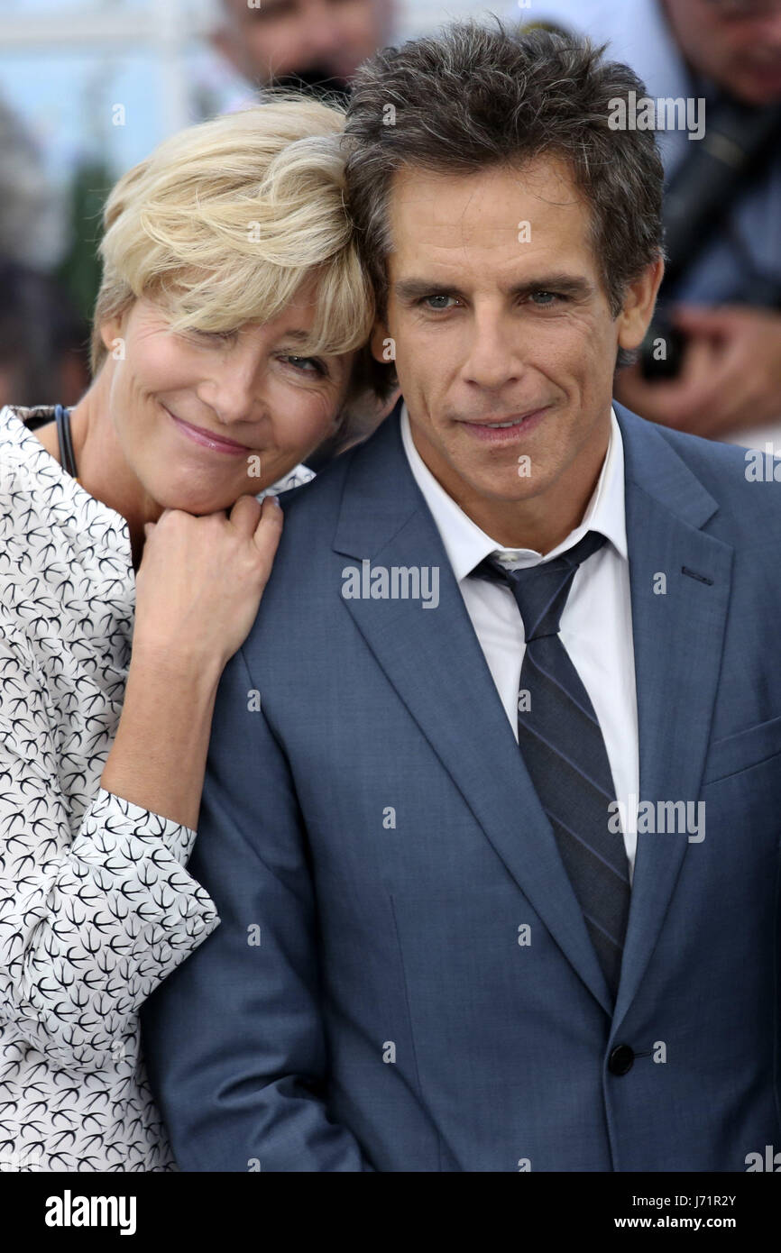 Cannes, Frankreich. 21st May, 2017. Emma Thompson and Ben Stiller at the 'The Meyerowitz Stories' photocall - Stock Image