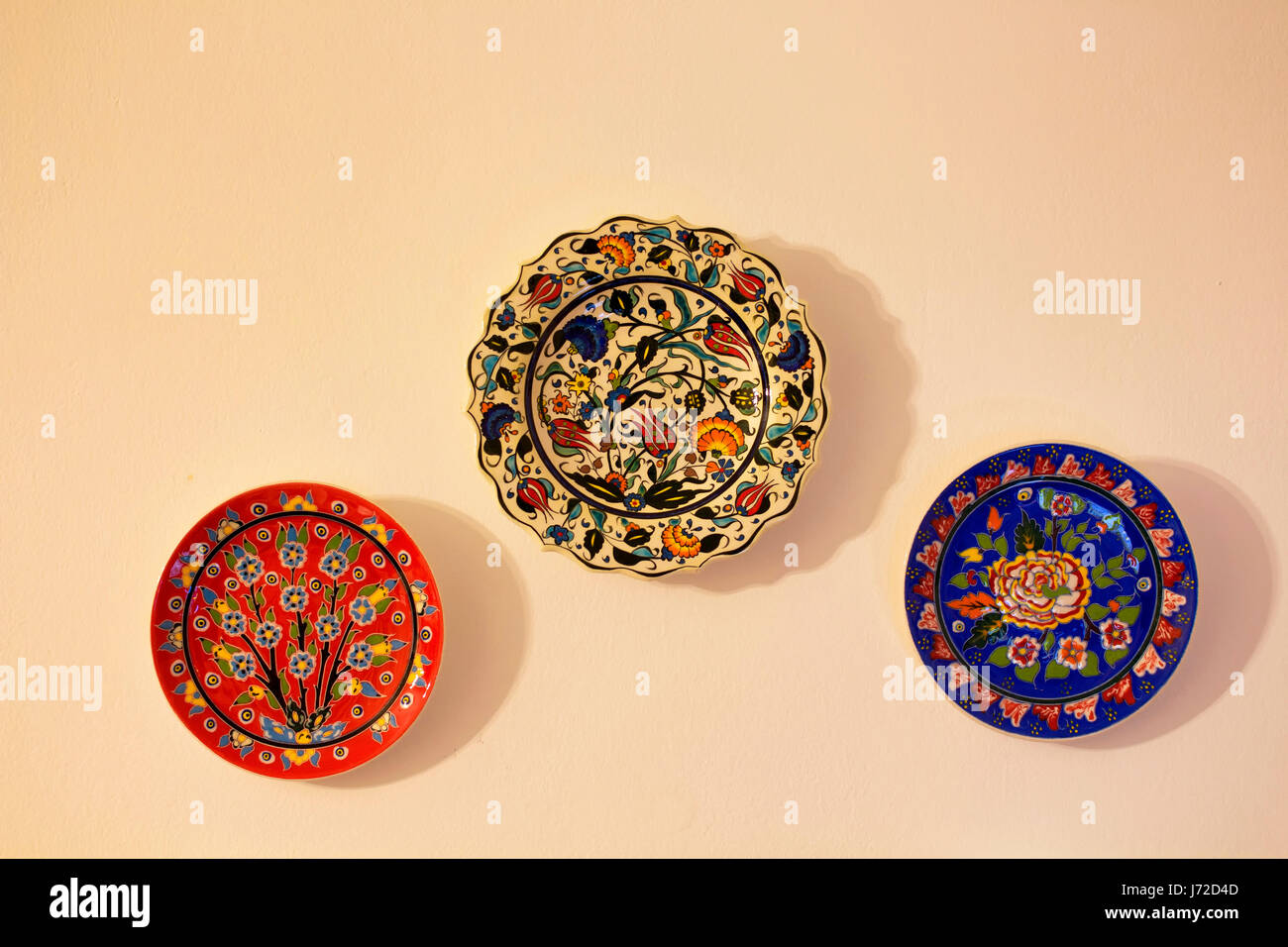 Colorful Wall Treatment Unique Pattern Colorful Art Ceramic Plates Stock Photos Colorful Art