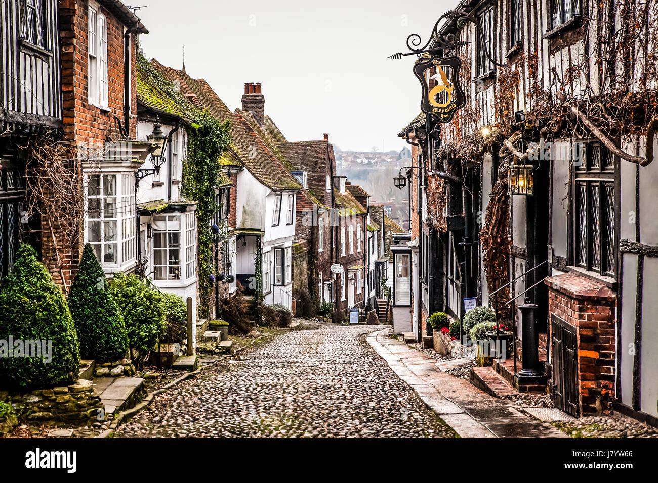 Stock Photo Rye United Kingdom January 21 2017 Pretty Tudor Half Timber Houses 142598014 on Old European Cottages