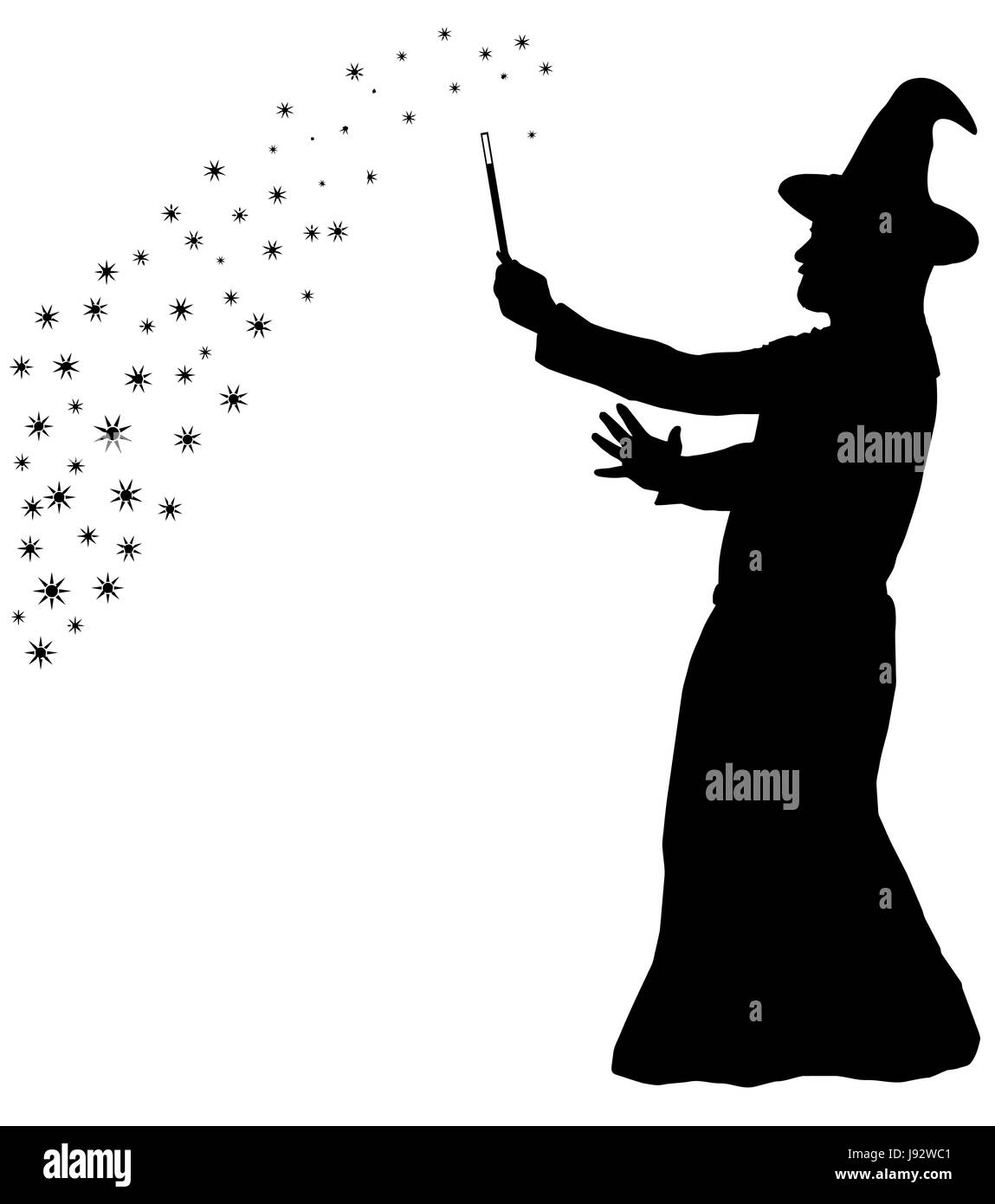 Silhouette of a bearded wizard in cloak with pointed hat creating magic Stock Vector