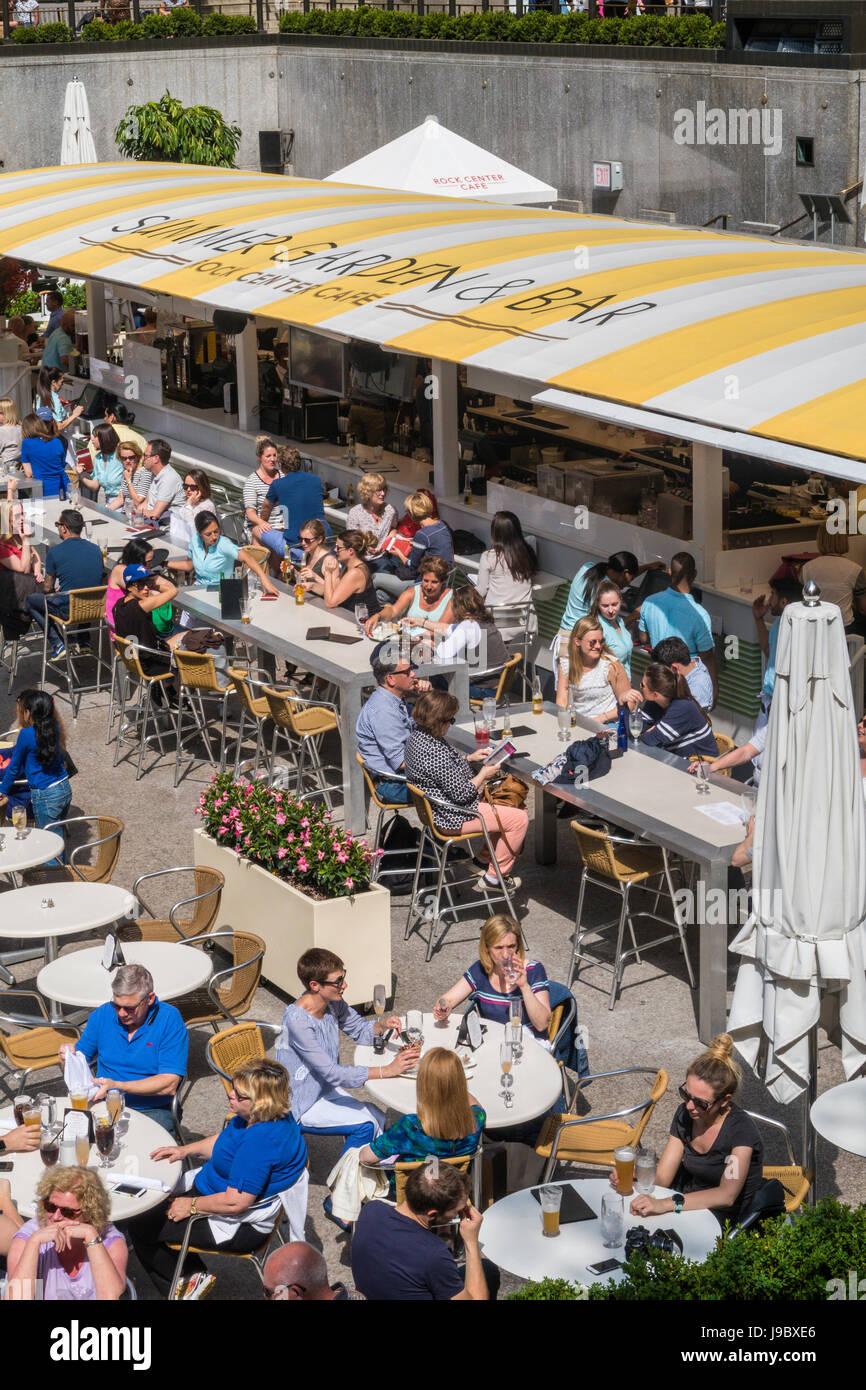 Summer garden and bar at rockefeller center nyc usa stock photo 143477102 alamy for Summer garden and bar