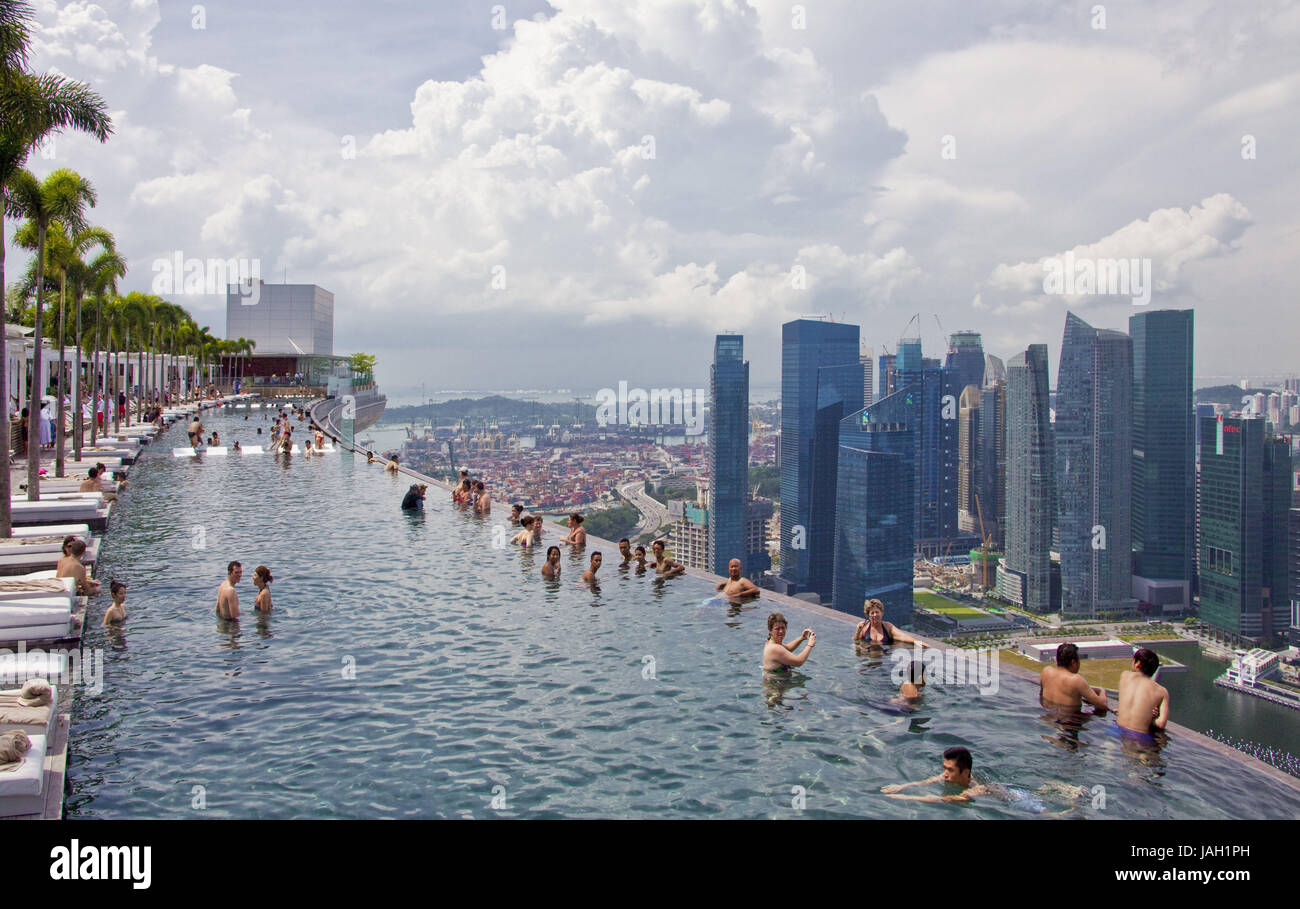 Singapore Hotel 39 Marina Bay Sands 39 Roof Terrace Swimming Stock Photo Royalty Free Image