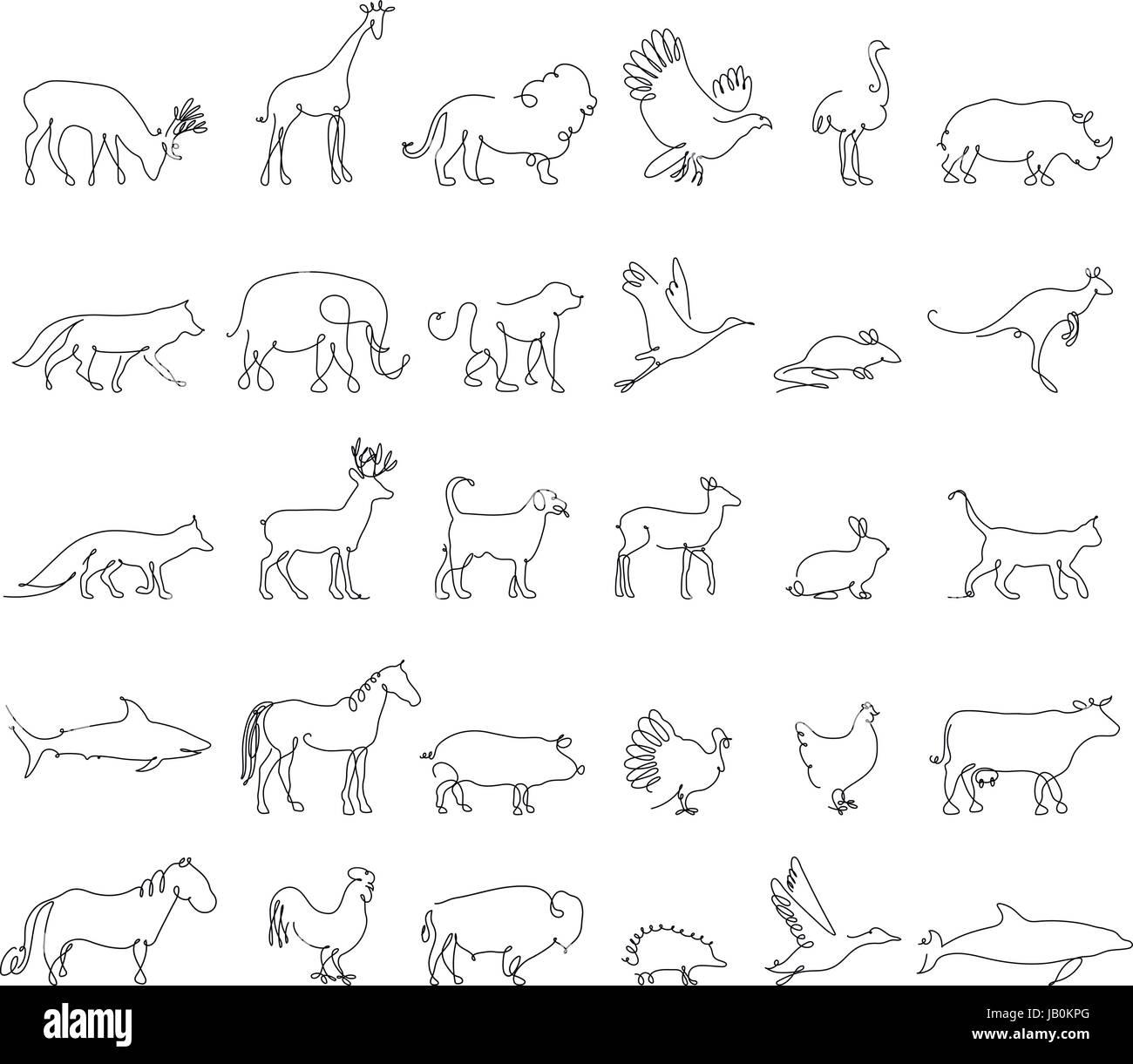 One Line Animals Set Logos Vector Stock Illustration