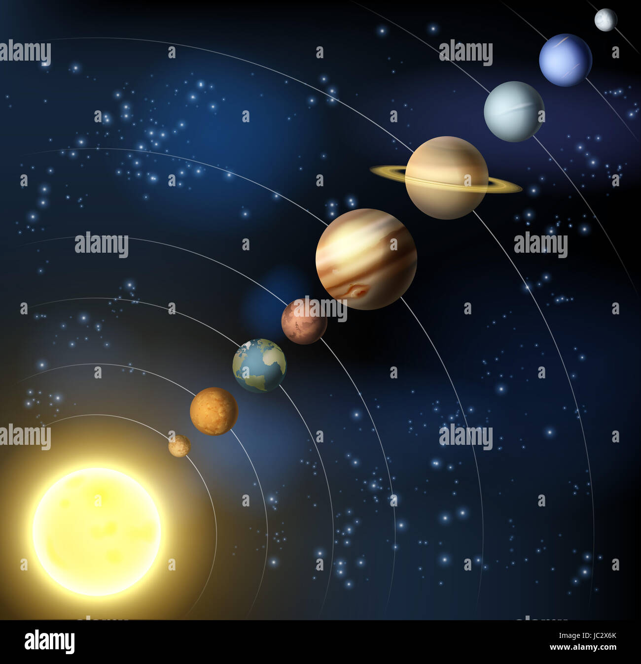The solar system with the planets orbiting the sun ...