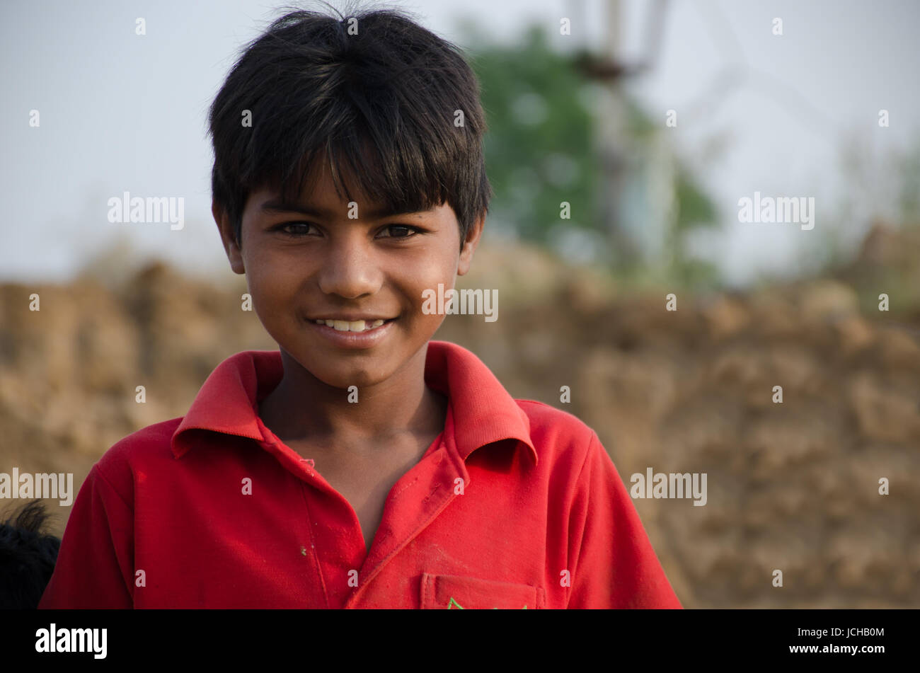 AMRITSAR, PUNJAB, INDIA - 21 APRIL 2017 : portrait of Indian boy smiling Stock Photo