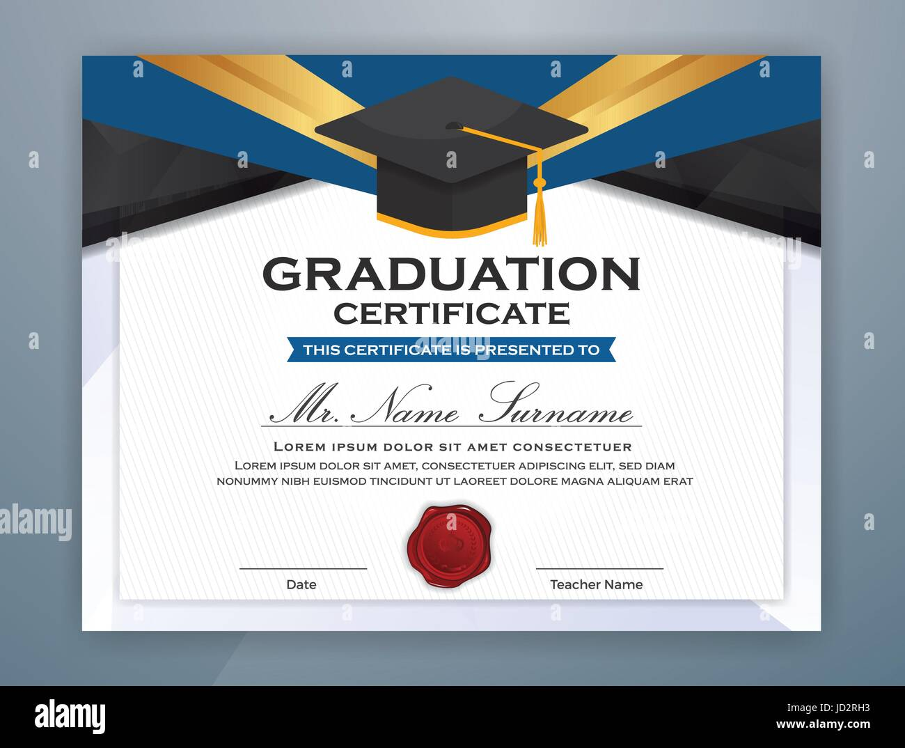 high school diploma certificate template design with