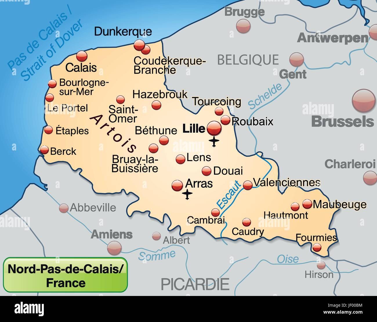 nord-pas-de-calais in france as an environment map of all the Stock Vector Art & Illustration ...