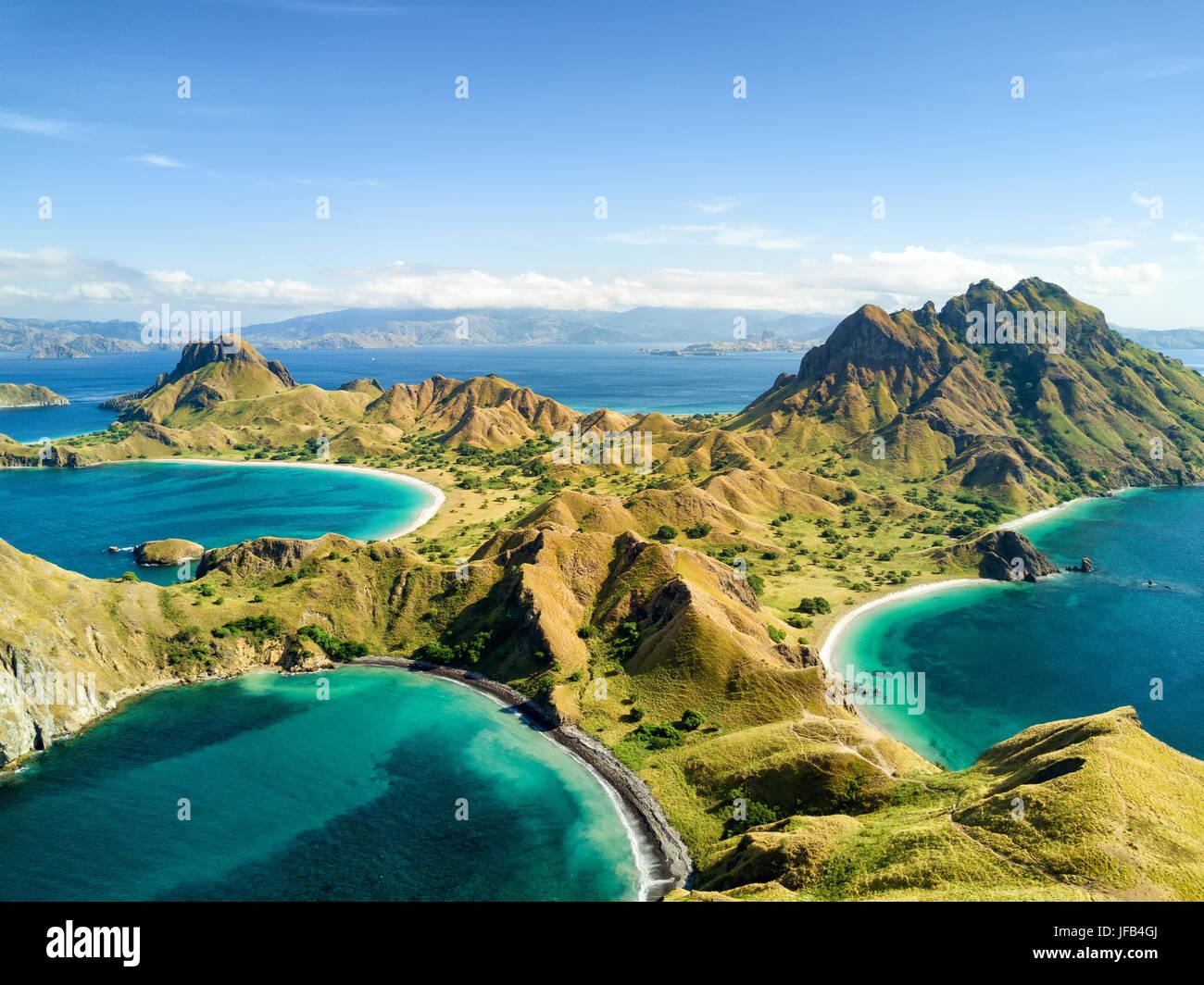 Aerial View Of Pulau Padar Island In Between Komodo And
