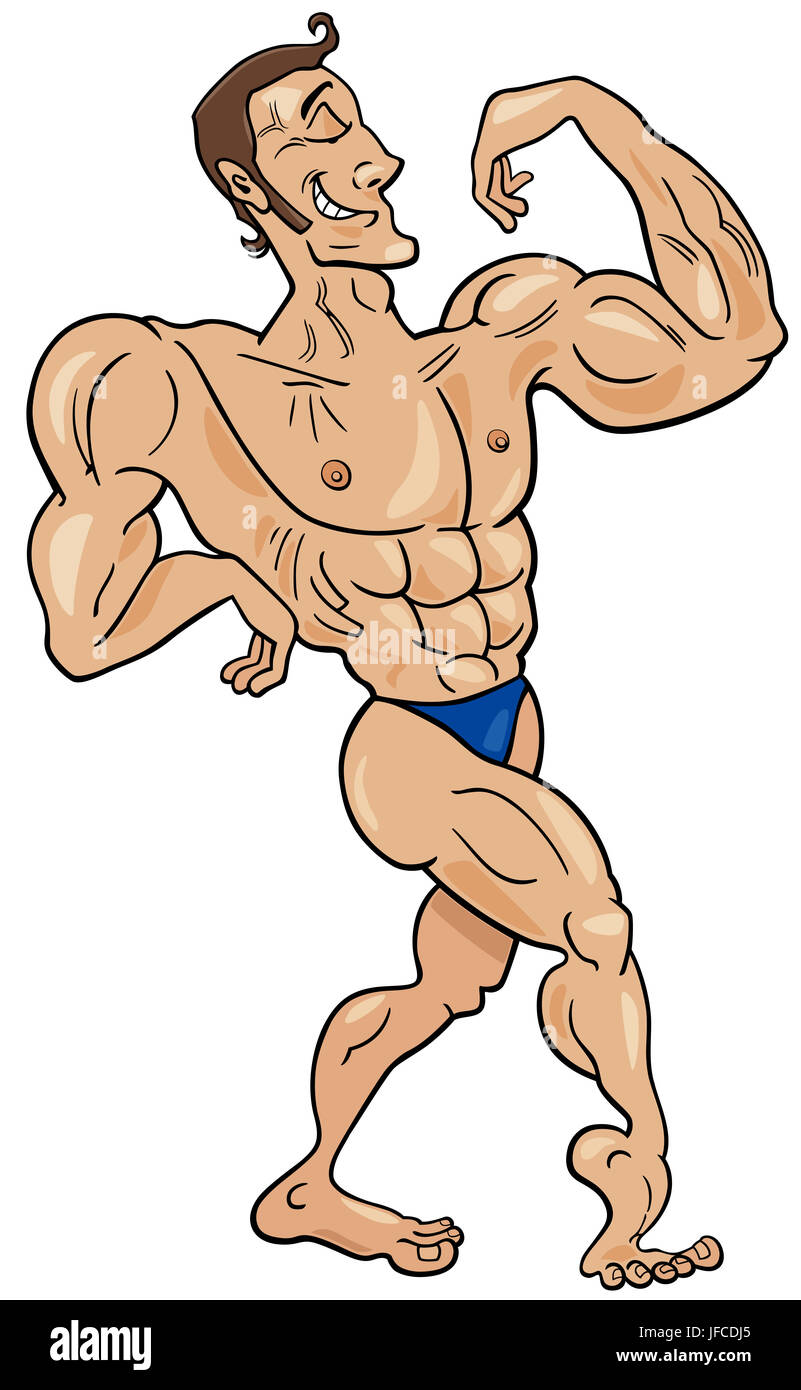 Bodybuilder cartoon character stock photo 147176909 alamy - Cartoon body builder ...
