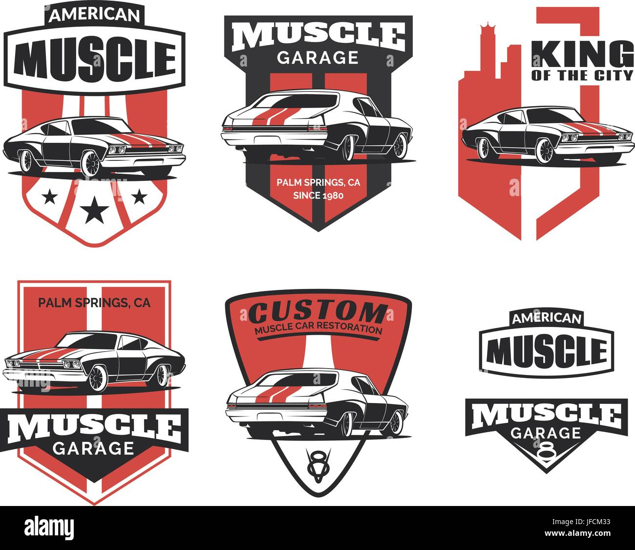 Set Of Classic Muscle Car Logo, Emblems, Badges And Icons
