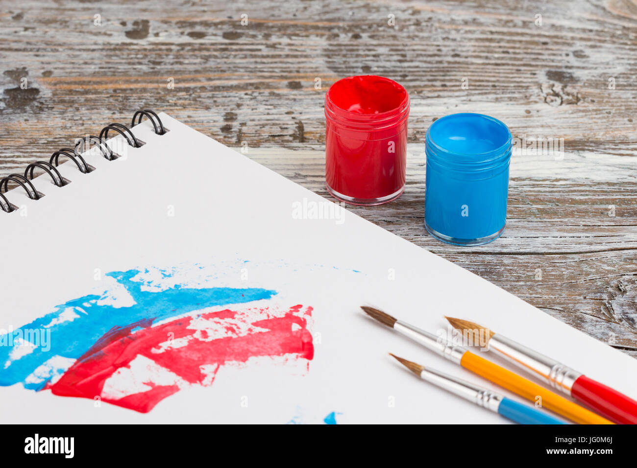 watercolor painting, special painting tools on wooden background Stock Photo