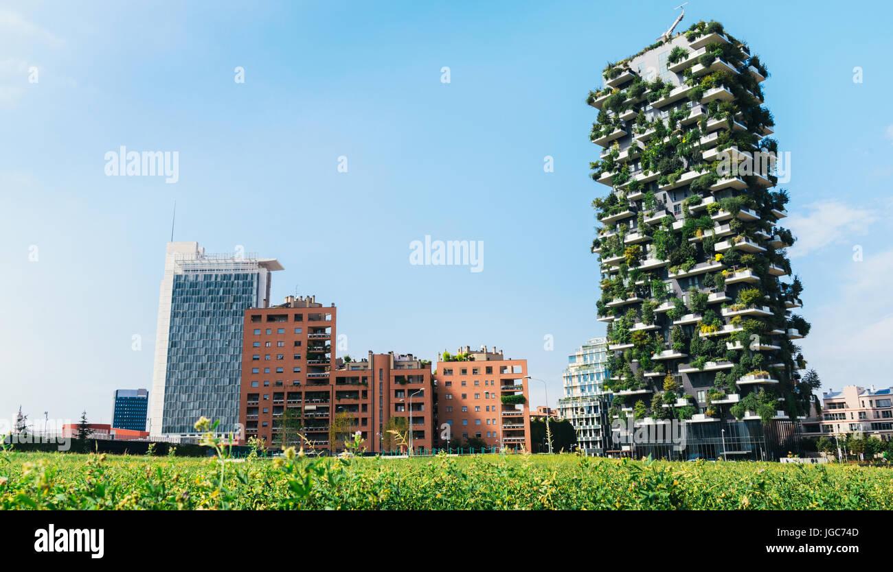 Milan, Italy skyline including the Bosco Verticale Stock Photo